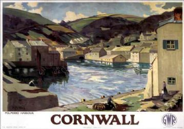 Cornwall, Polperro Harbour, Vintage Great Western Railway (GWR) Travel poster by PM Hill. c1935